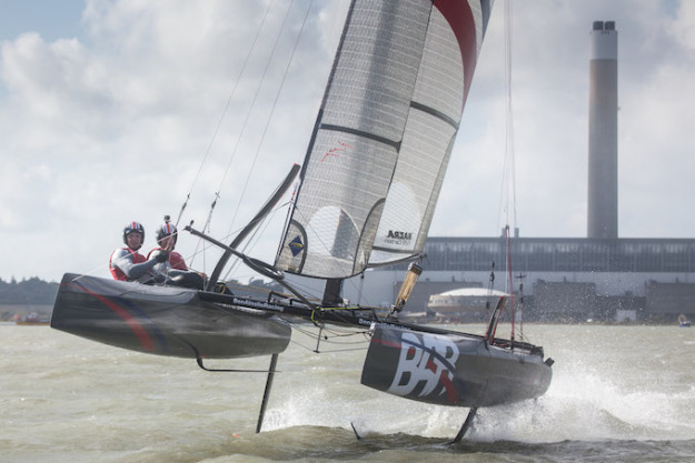 Scott's first training session on the Solent with Paul 'CJ' Campbell-James on the team's foiling Nacra F20