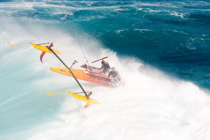 """Don was simply """"holding on"""" to the kite controls in the early days. Credit Kiteboat Project"""