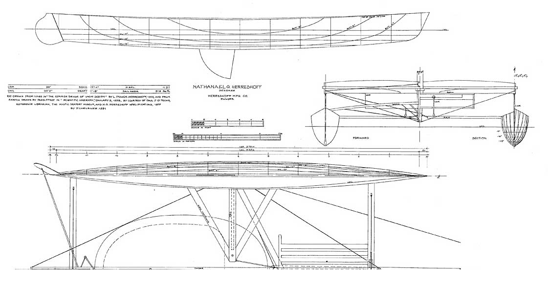 Extracted from 1870-1887 American and British Yacht Designs (François Chevalier & Jacques Taglang, 1991)