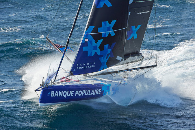 Armel Le Cléac'h's Banque Populaire VIII is one of the new VPLP-Verdier boats, considered the most complex monohull sailboats ever built. Credit Transat Jacques Vabre