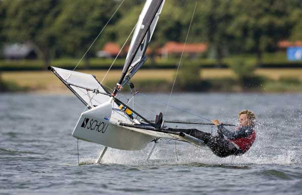 Alex Adams on day three of the International Moth worlds at Horsens, Denmark