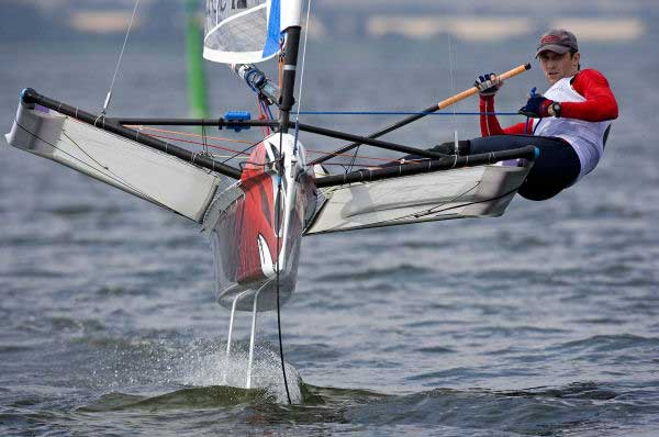Rohan Veal on day one of the International Moth worlds at Horsens, Denmark. Photo © Th.Martinez / www.thmartinez.com