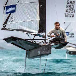 "American Pat Wilson at ""the knot"" out of a gybe, big breezy Day 4 of The Amlin. BEAU OUTTERIDGE Image."