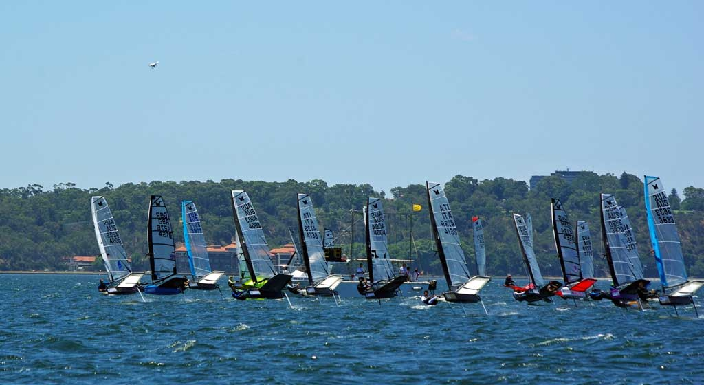 Invitational practice race start. Image by Rick Steuart of Perth Sailing Photography
