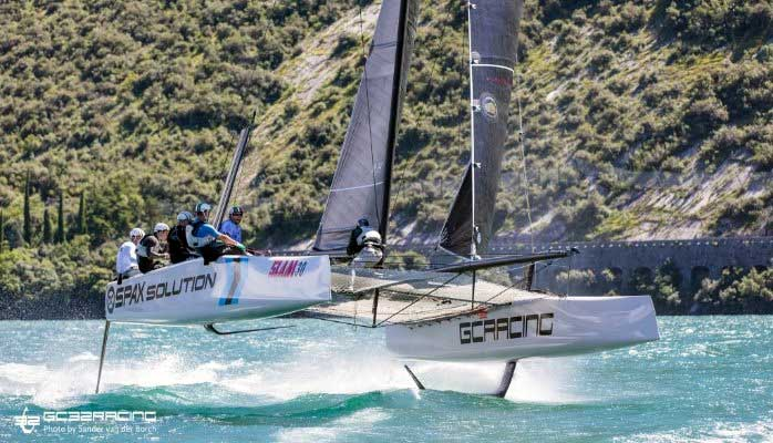 GC32 crew equipped with Carrera Folding helmet at Foiling Week 2014