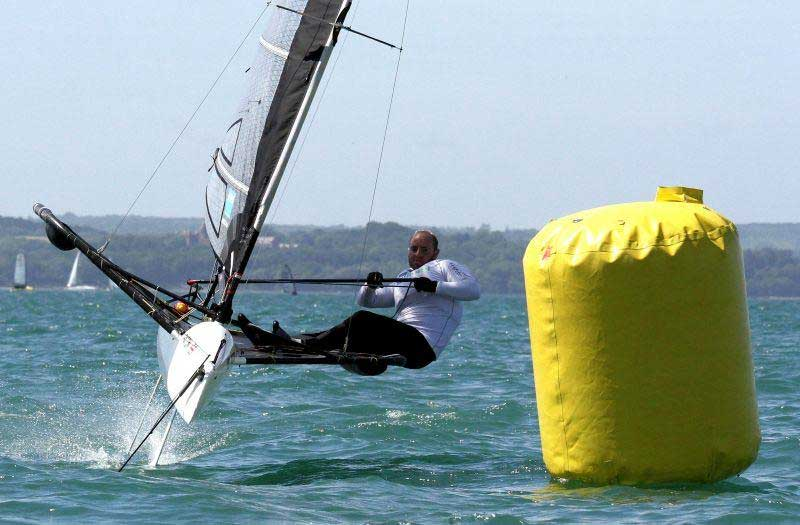 Ben Paton on day 3 of the International Moth UK Nationals at Stokes Bay