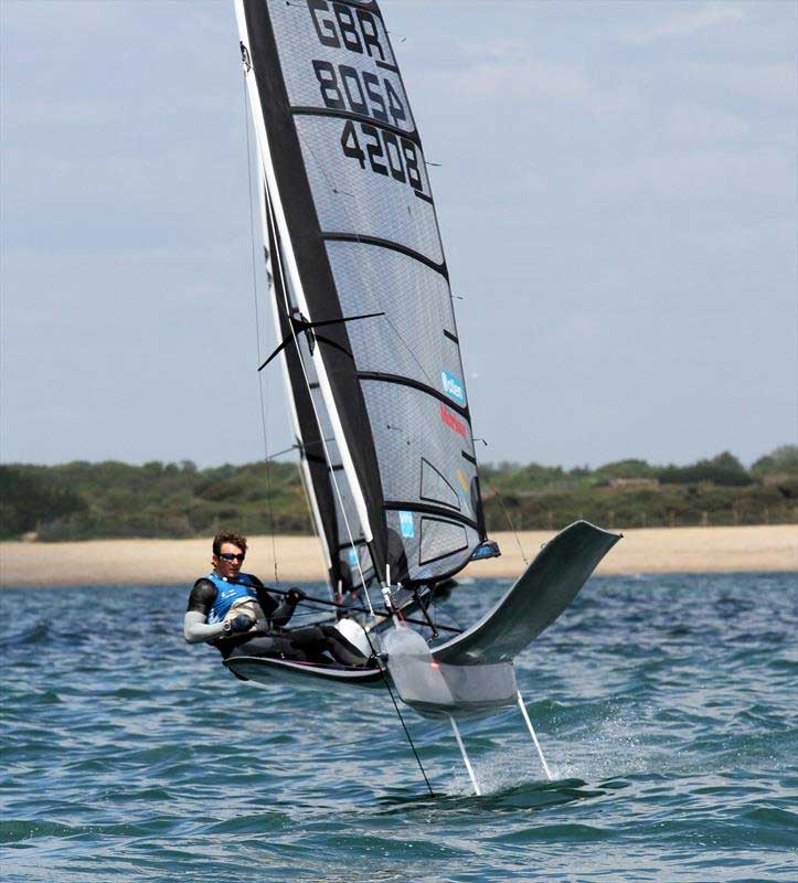 Dylan Fletcher on day 3 of the International Moth UK Nationals at Stokes Bay. Photos © Mark Jardine