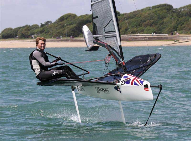 Chris Rashley on day 3 of the International Moth UK Nationals at Stokes Bay. Photo © Mark Jardine