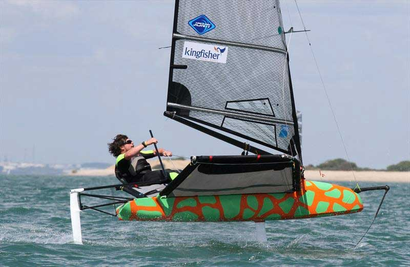 James Sainsbury on day 3 of the International Moth UK Nationals at Stokes Bay. Photo © Mark Jardine